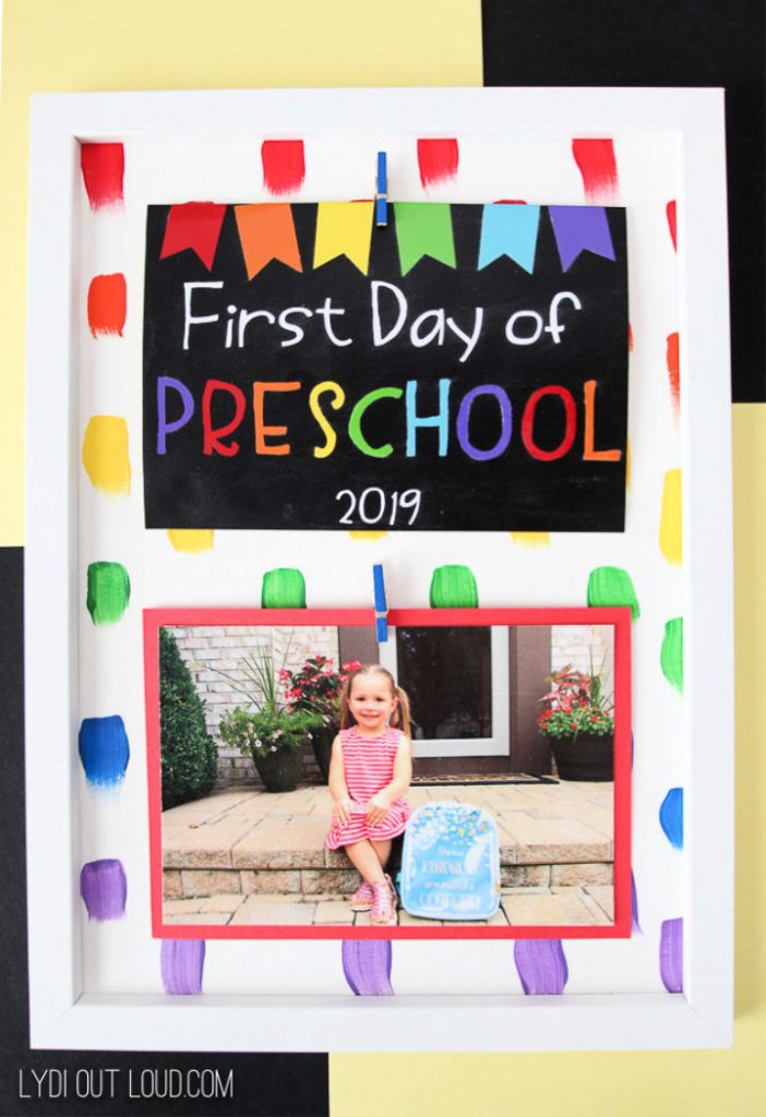 Homemade First Day Of School Picture Frame