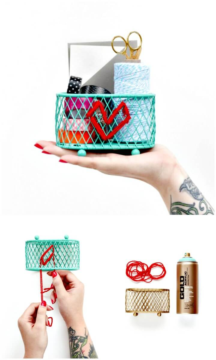 How To DIY Embroidered Desk Organizer