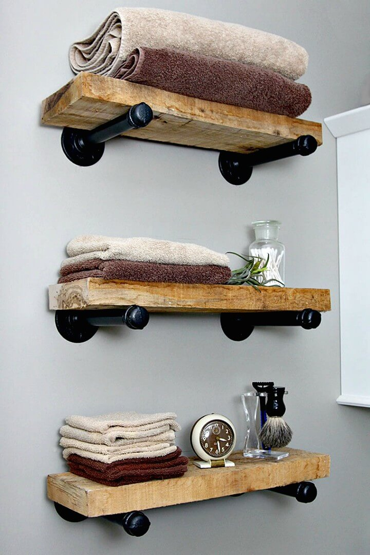 How To DIY Wooden Industrial Pipe Shelves for Your Room