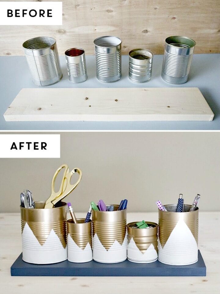 How To Up-cycled Tin Can Desk Organizers