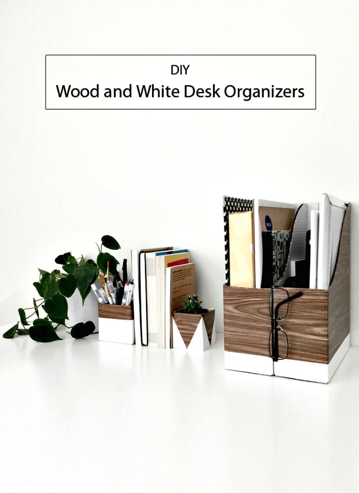 How To Make Wood and White Desk Organizers