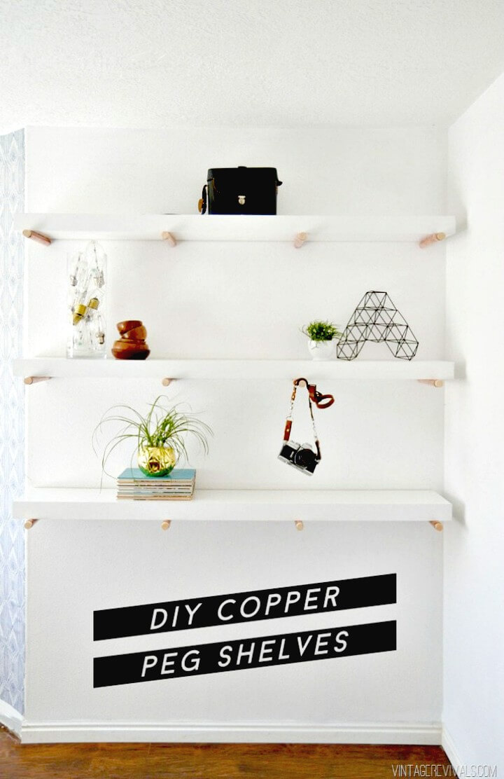 How To Make Wooden Copper Peg Shelves - DIY