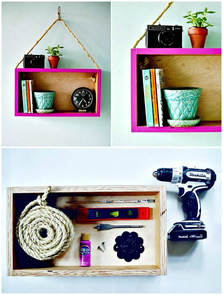 How To Turn a Wooden Box into a Modern Hanging Shelf - DIY