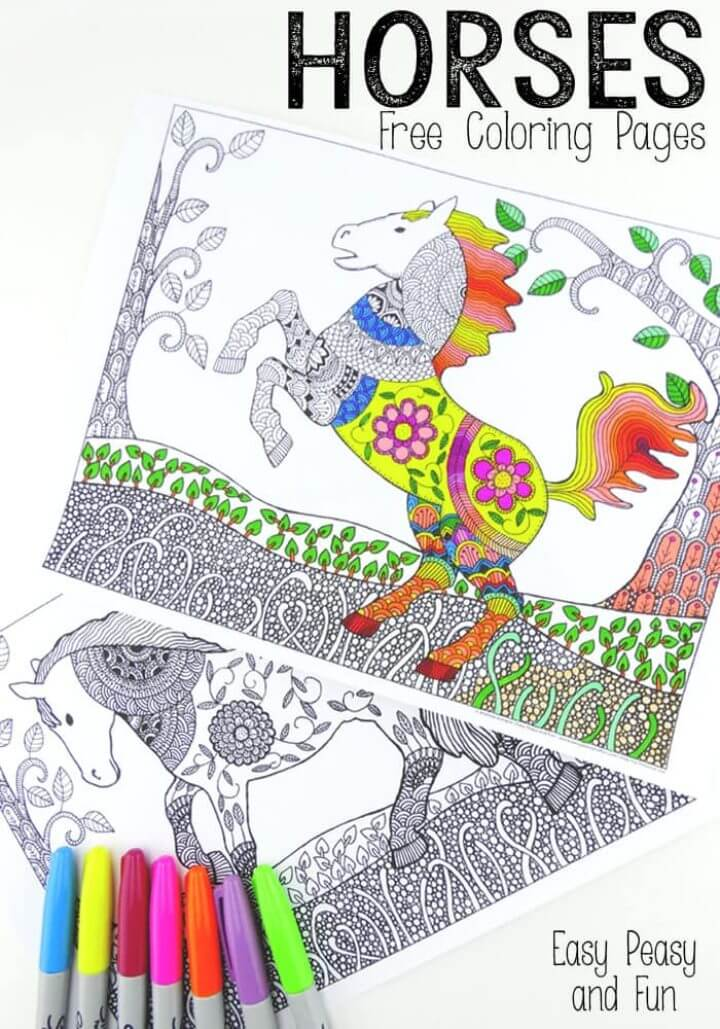 Intricate Horses Coloring Pages for Adults