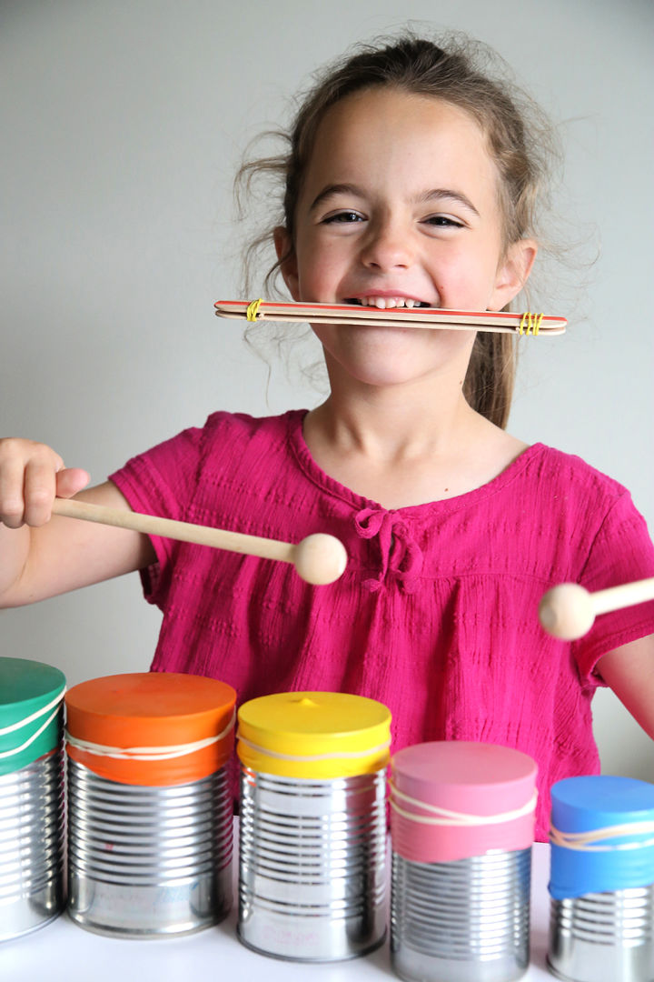 Kid Made Drum Set and Kazoo Indoor Craft