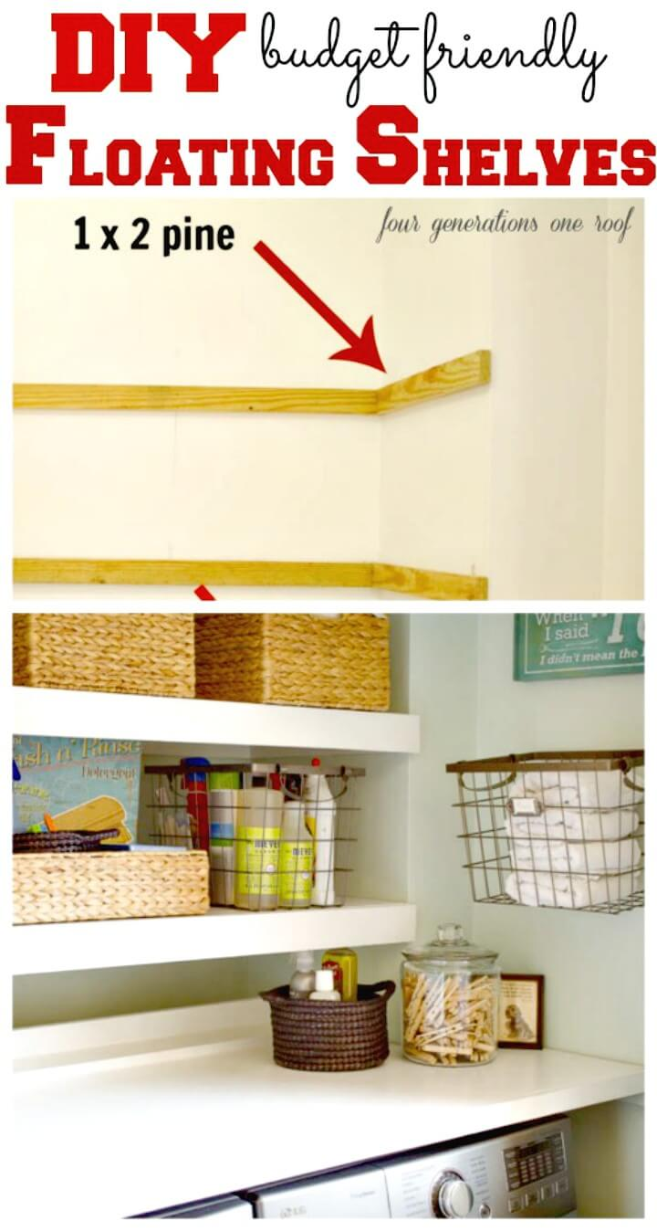 How to Make Floating Shelves Laundry Room - DIY