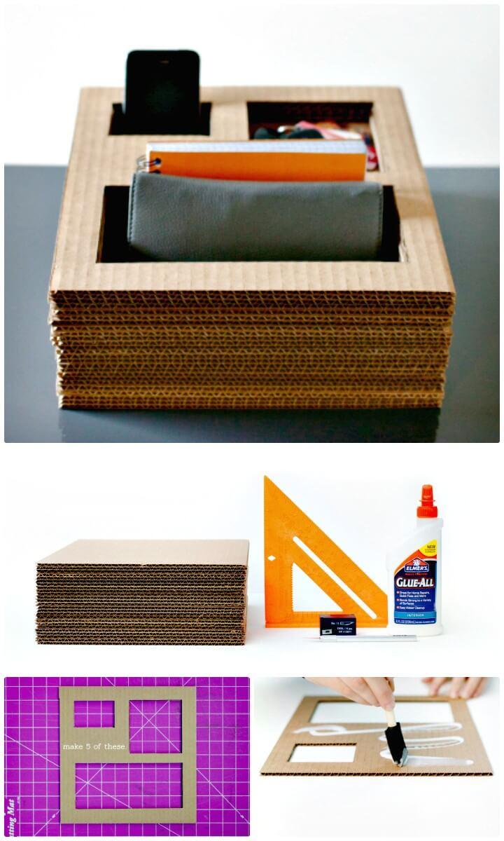 Make Your Own Cardboard Desk Organizer