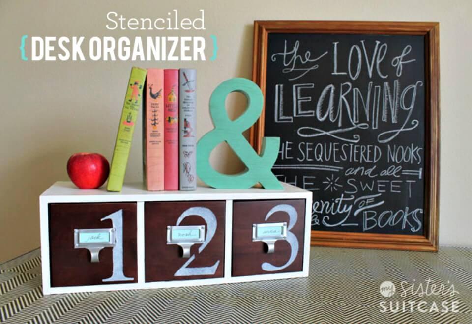Quick Make a Stenciled Desk Organizer