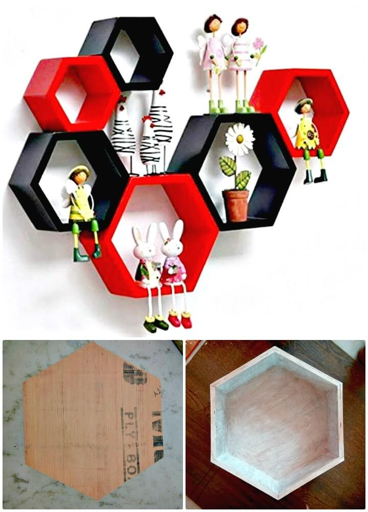 DIY Honeycomb Stylish Wooden Shelves With Beautiful Lighting