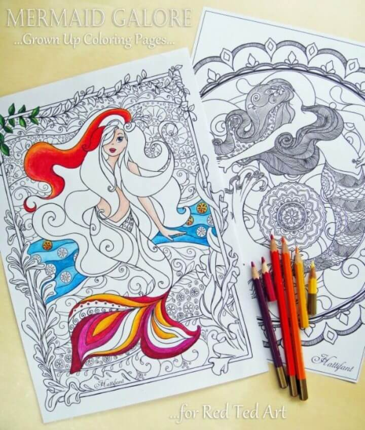 Mermaid Colouring Pages for Grown Ups