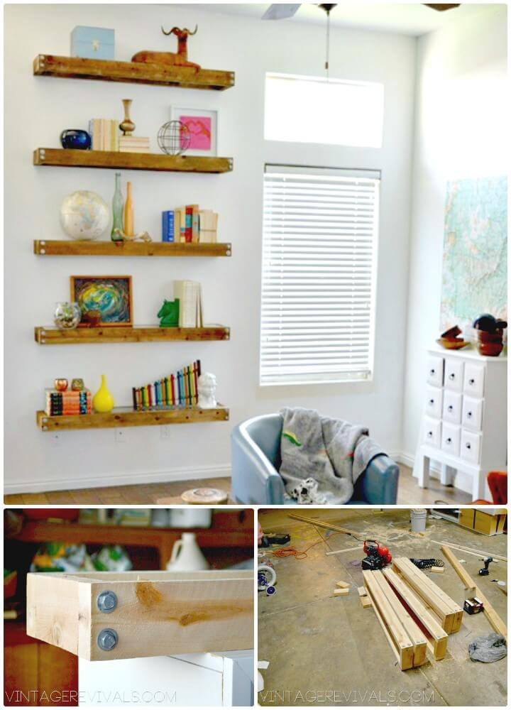 Modern DIY Industrial Wooden Floating Shelves