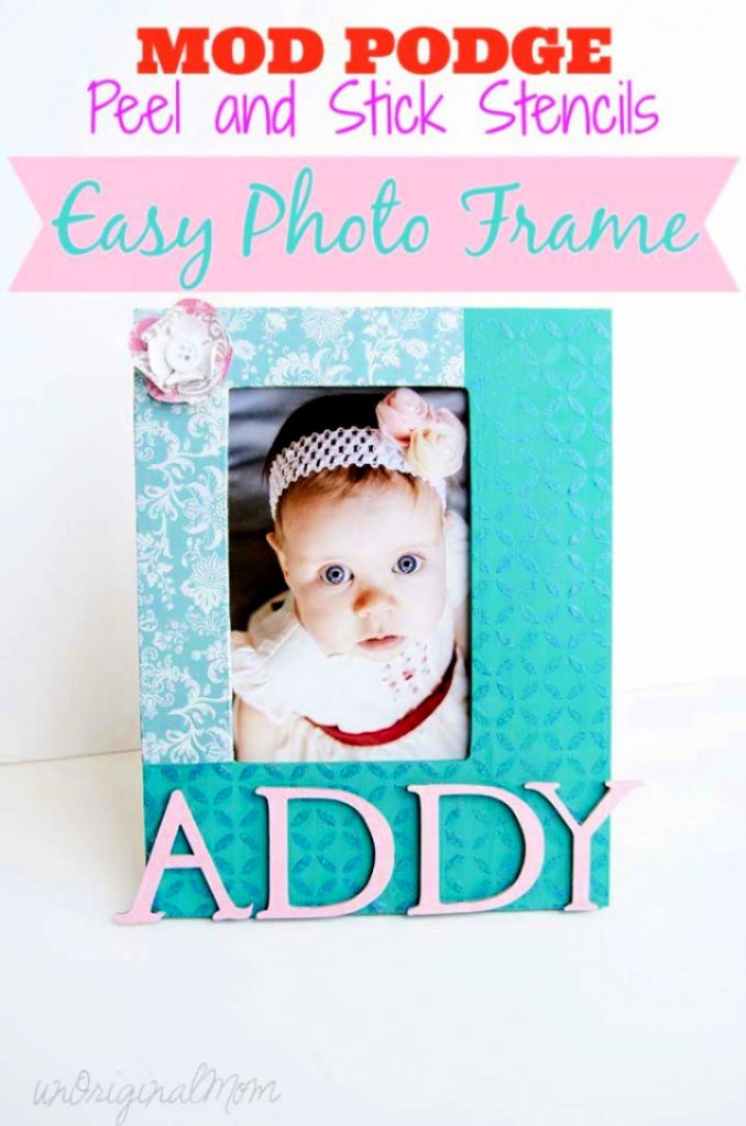 Photo Frame with Mod Podge Peel and Stick Stencils