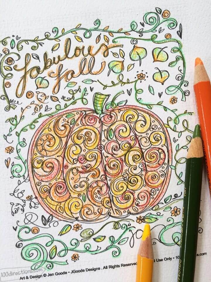 Pumpkin Coloring Page for Fall
