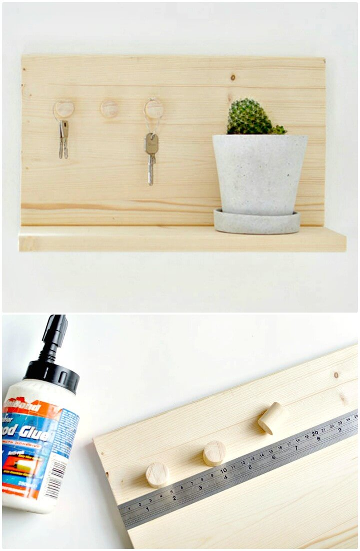 How to DIY Wooden Key Shelf