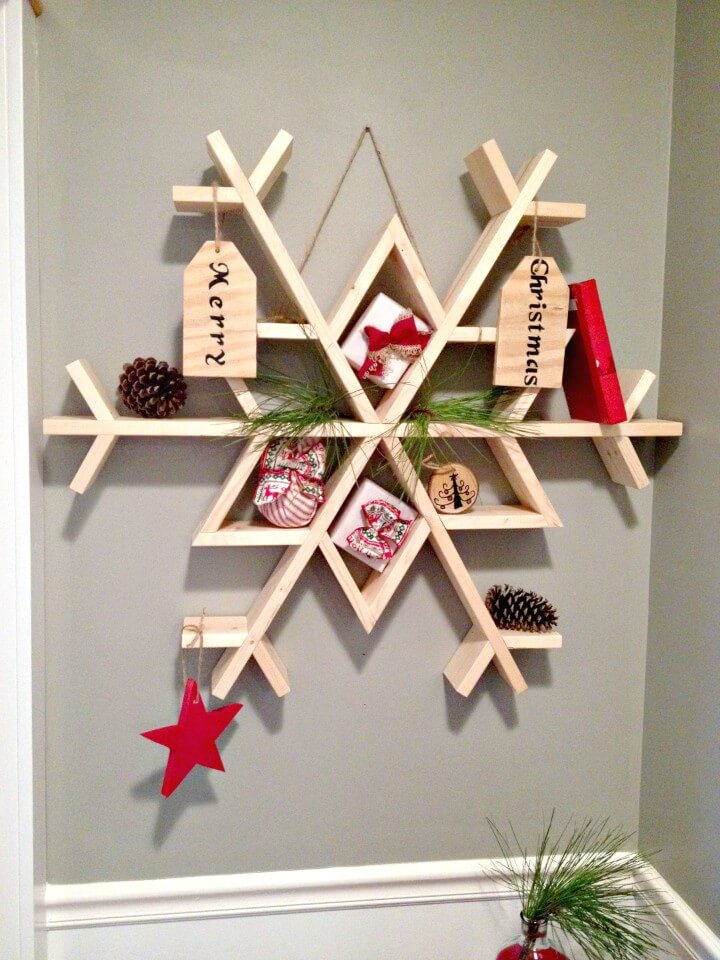 Quick and Easy DIY Wooden Snowflake Shelf