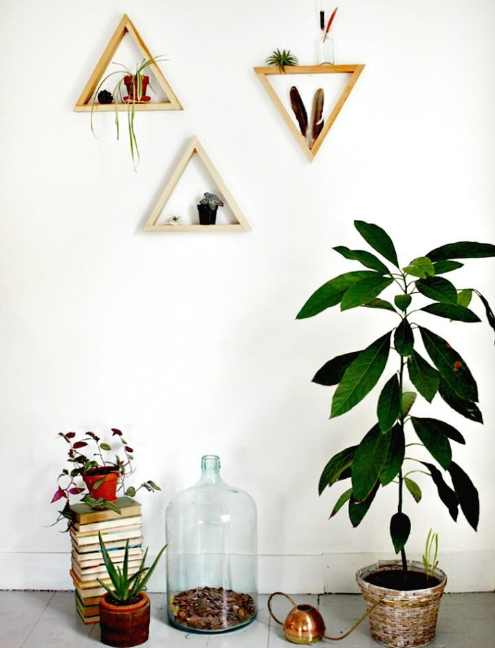 Quick and Easy DIY Wooden Triangle Shelves
