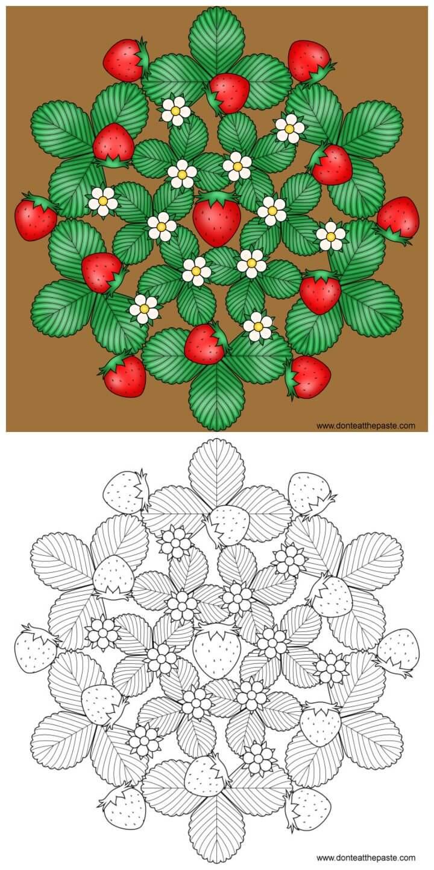 Strawberry Mandala To Color