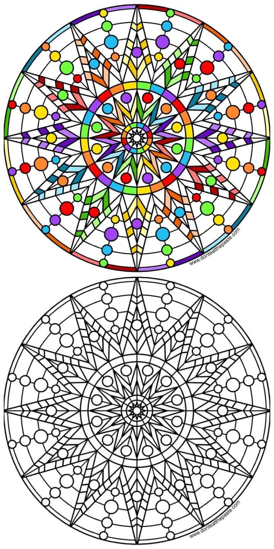 Sun Mandala to Print and Color