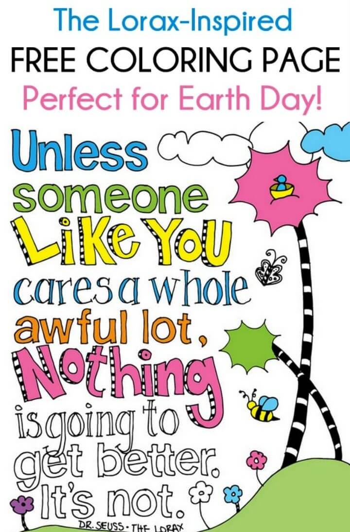 The Lorax inspired Earth Day Coloring Page