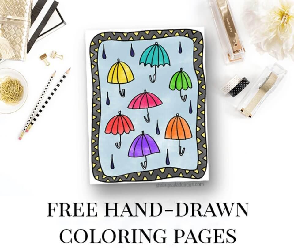 Under My Umbrellas – Free Coloring Page