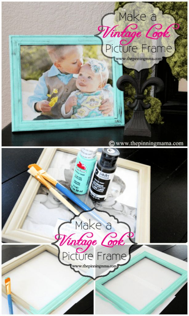 Vintage Picture Frame with Dry Brush Technique