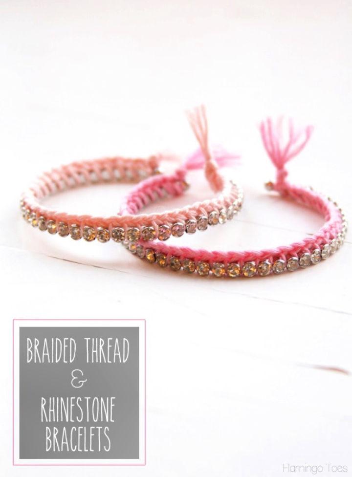 Braided Thread and Rhinestone Bracelets