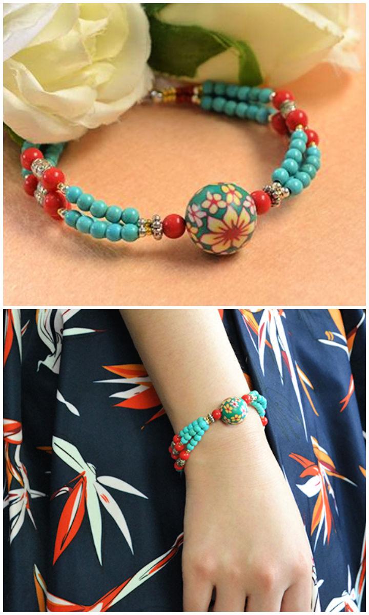 Charming Multi strand Beaded Ethnic Bracelet