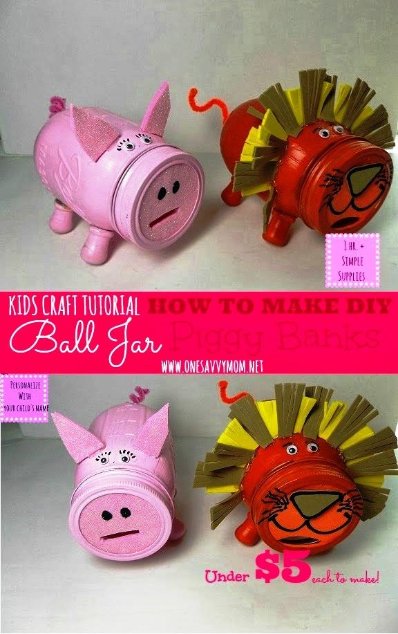DIY Ball Mason Jar Piggy Banks For Under 5