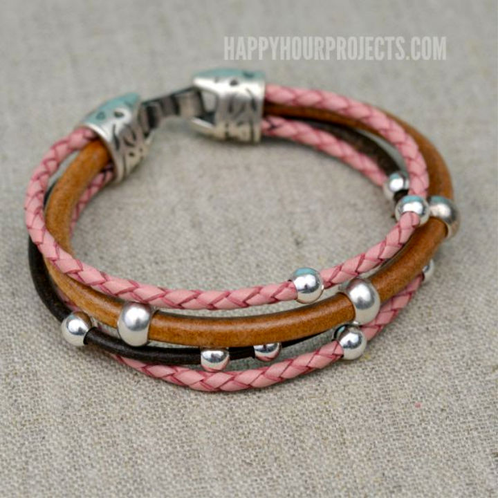 DIY Beaded Leather Bracelet