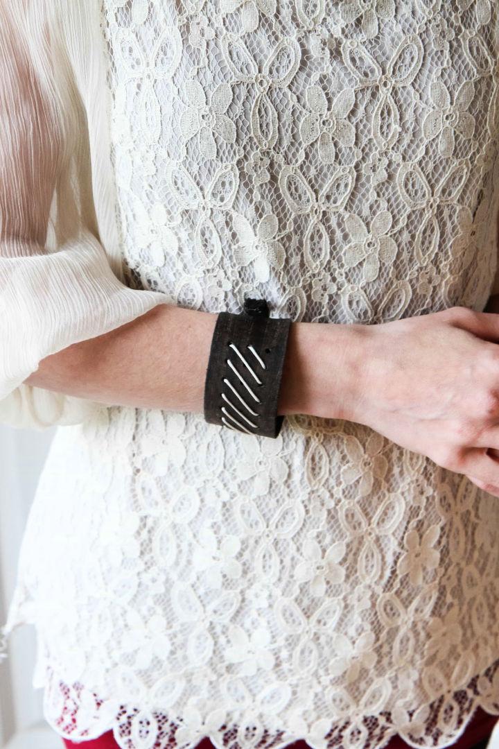 DIY Fitbit Leather Cuff Bracelet