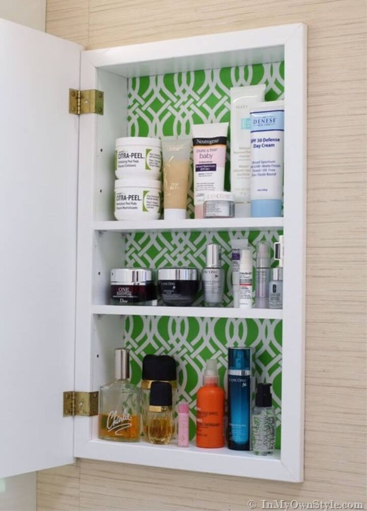 DIY Gift Wrap Lined Cabinet