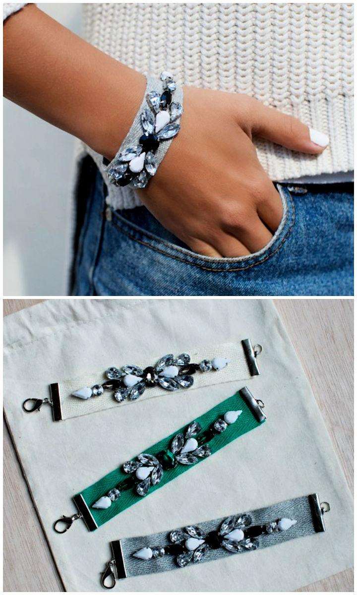 DIY Jeweled Ribbon Bracelets