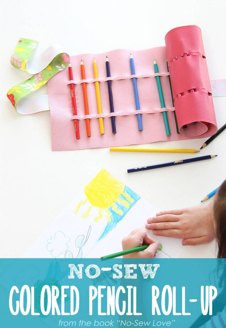 DIY No Sew Colored Pencil Roll up