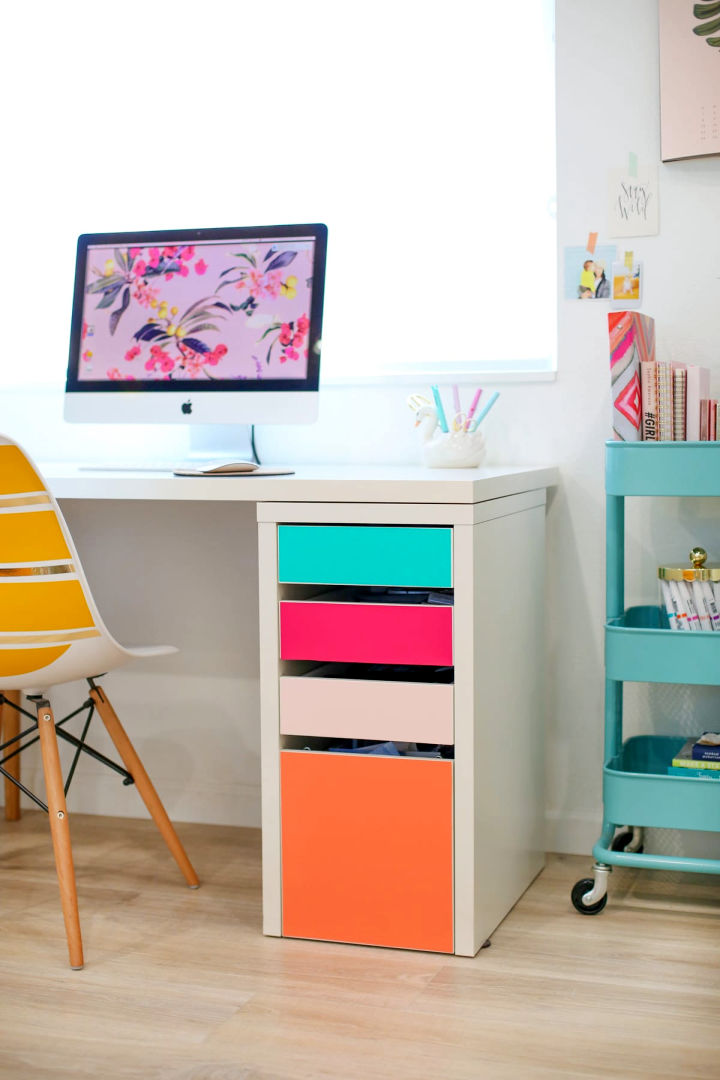 DIY No paint Colorful Drawers