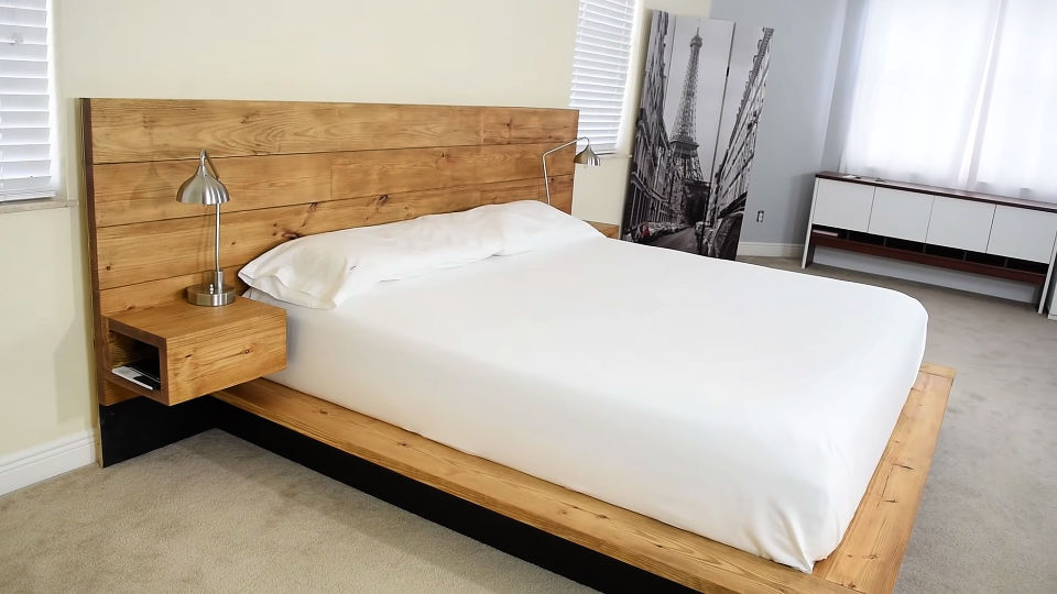 DIY Platform Bed With Floating Night Stands Free Plan