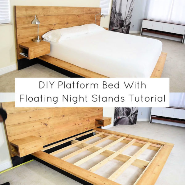 DIY Platform Bed With Floating Night Stands Tutorial