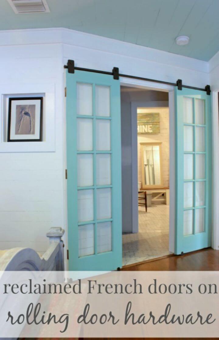 DIY Reclaimed French Doors on Rolling Door Hardware