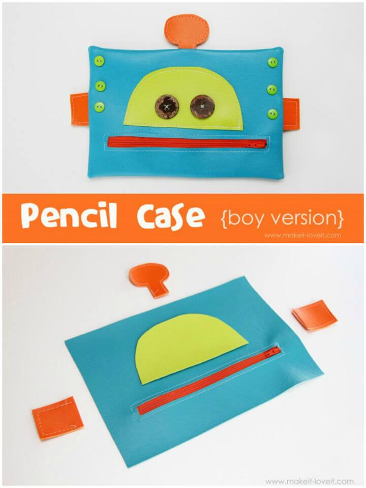 DIY Robot Zipper Mouth Pencil Case