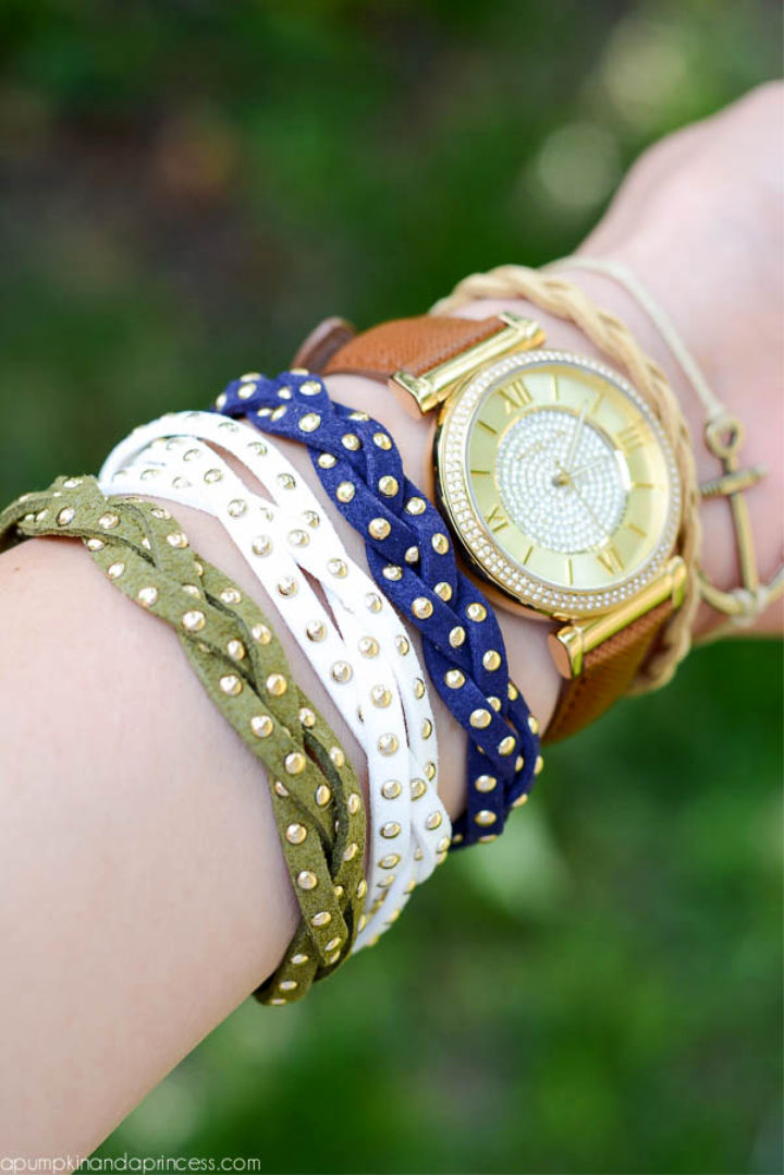 DIY Studded Braid Bracelets