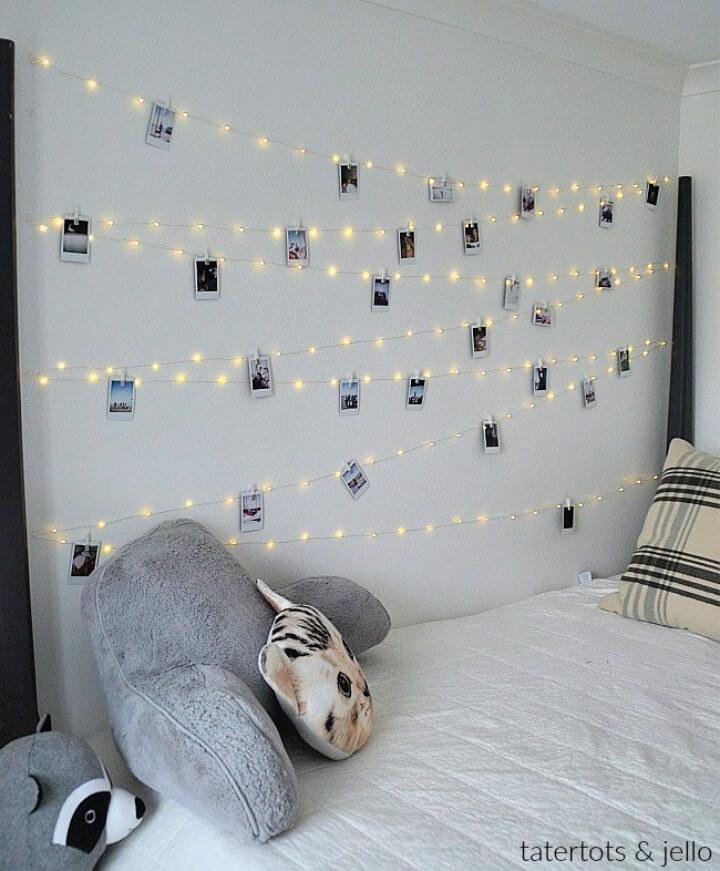 DIY Teen Fairy Light Photo Wall