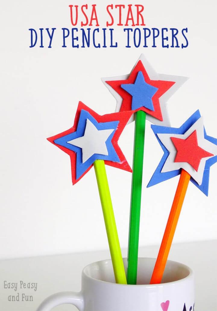 DIY USA Star Pencil Topper