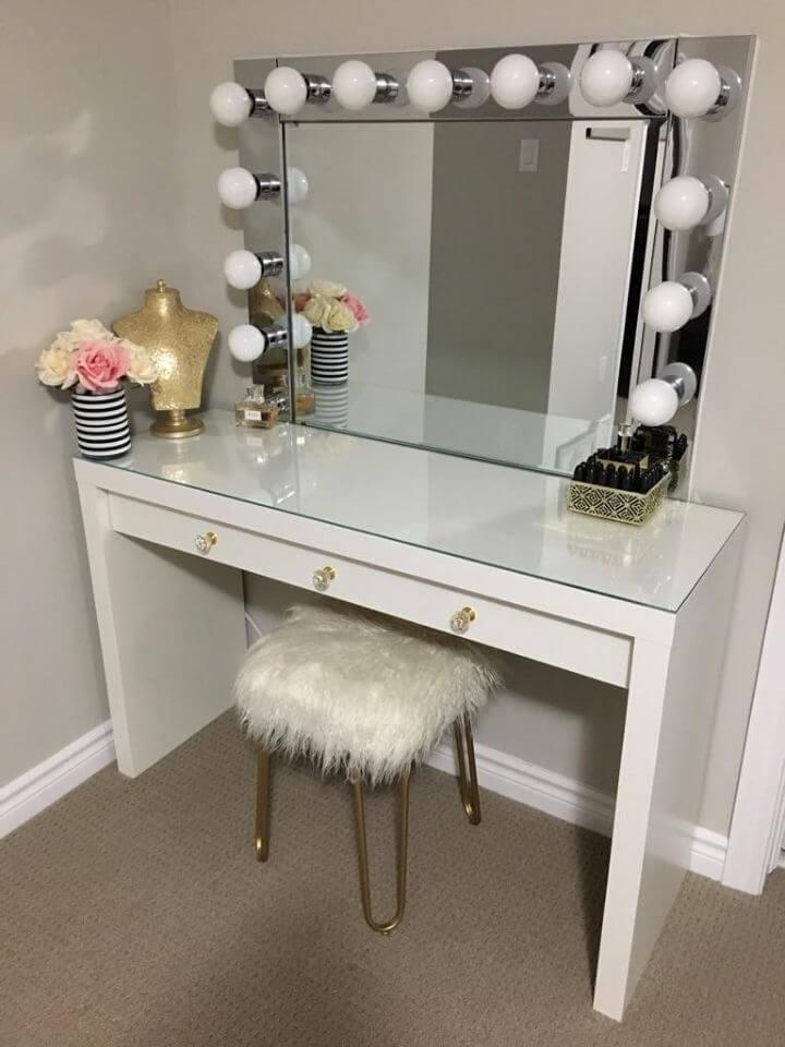 DIY Vanity Mirror with Desk and Lights