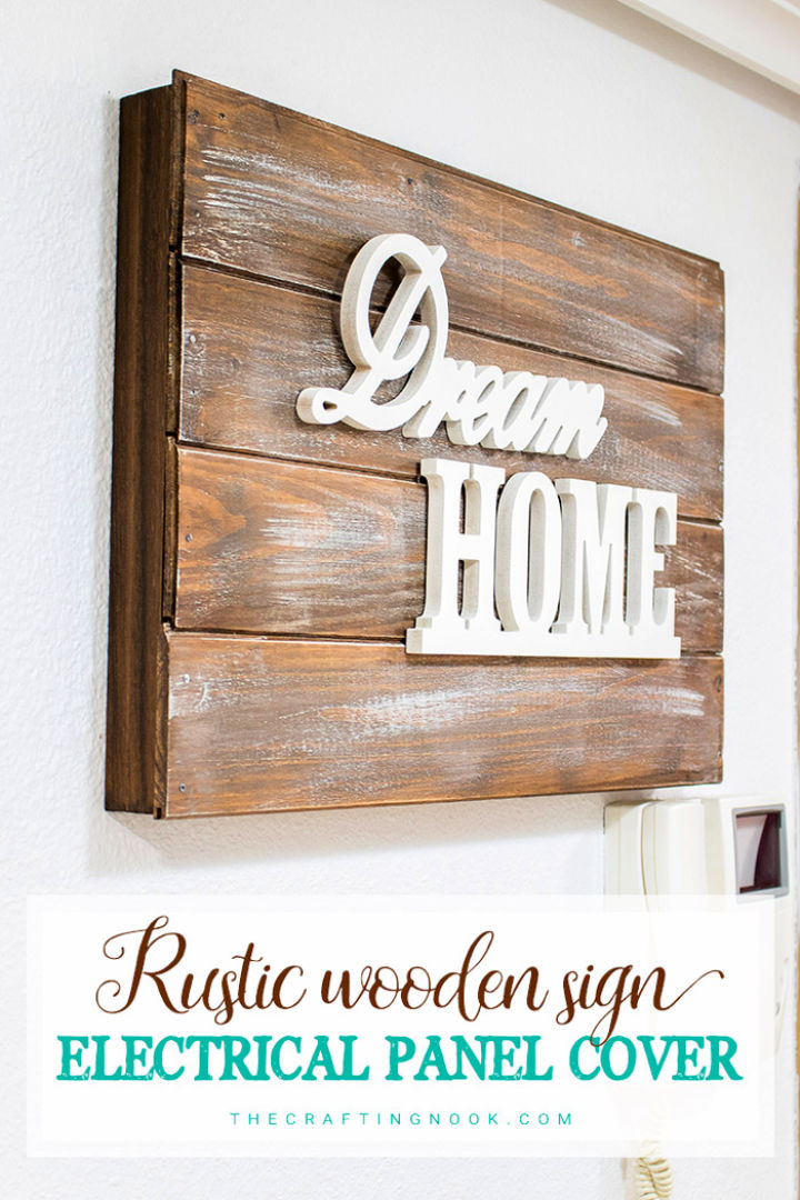 DIY Wooden Sign Electrical Panel Cover