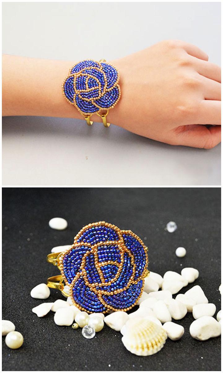 Embroidery Rose Bangle Bracelets