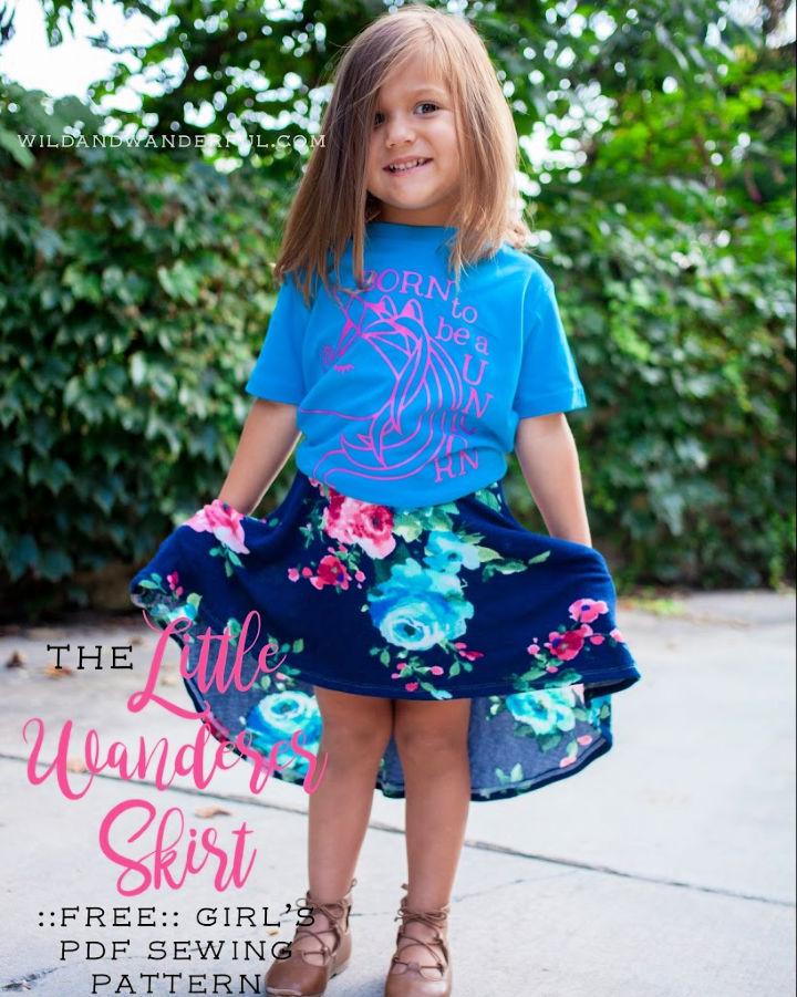 Free Girls High low Circle Skirt Pattern