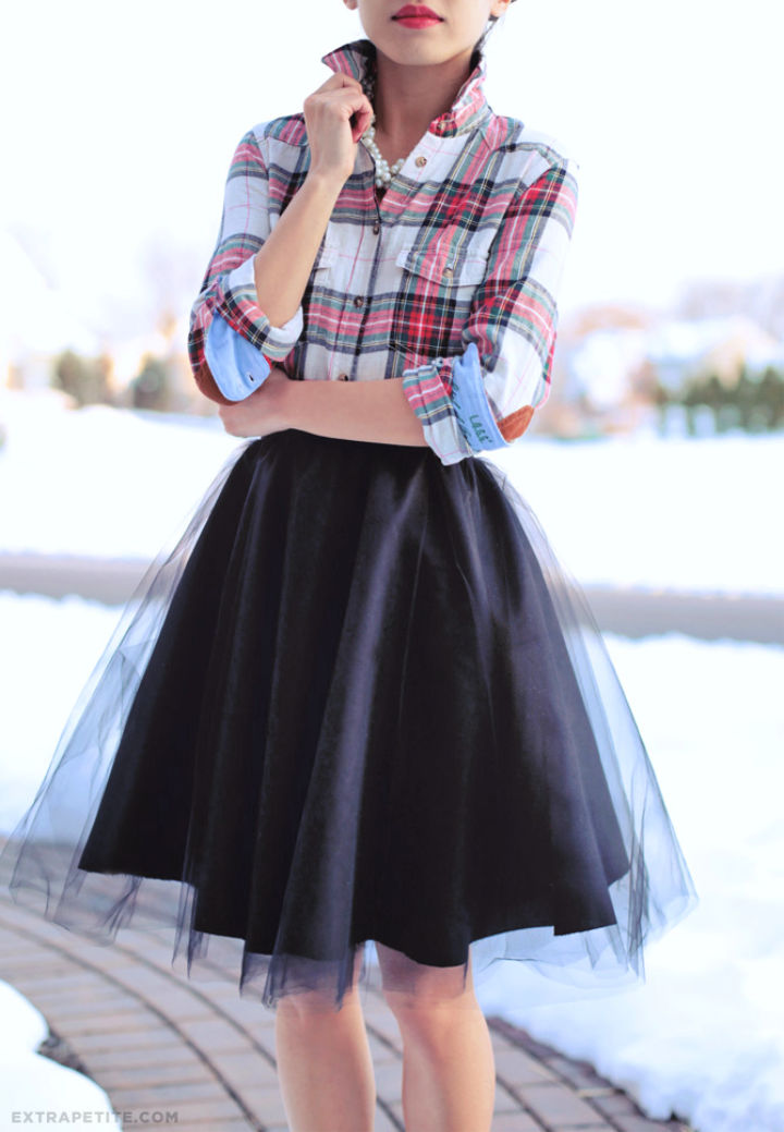 Full Circle Skirt With Tulle Overlay