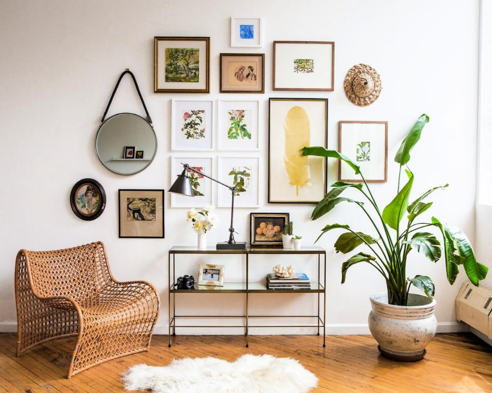 Photo Wall With Mirror