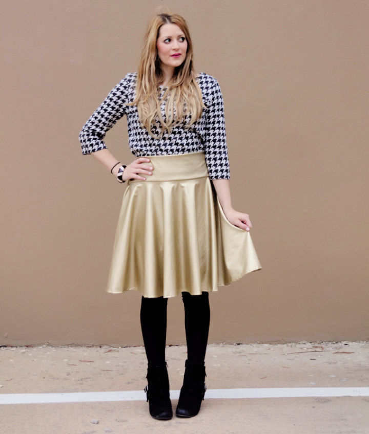 Gold Pleather Circle Skirt Sewing Pattern