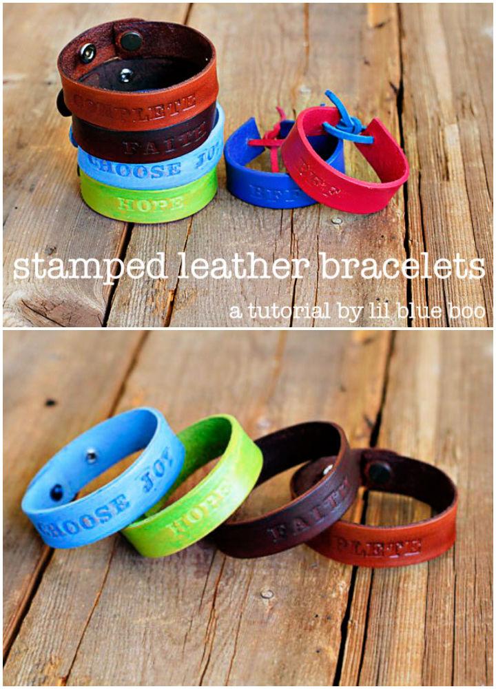 Hand Stamped Leather Bracelets