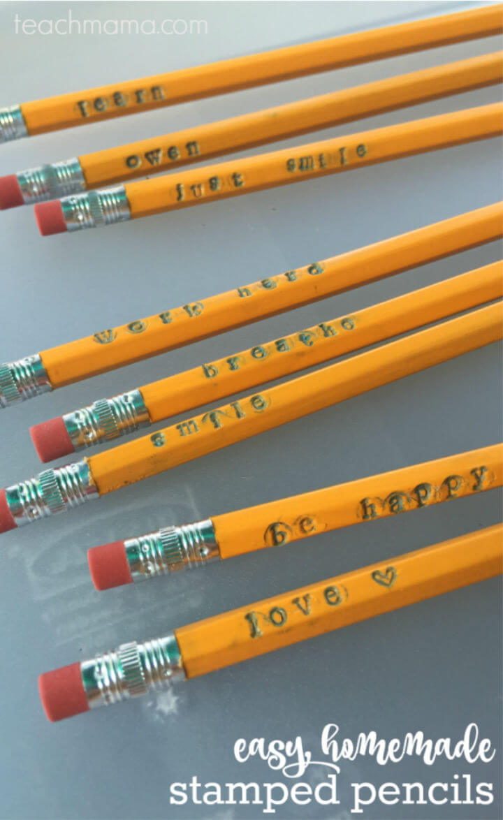 Homemade Stamped Pencils